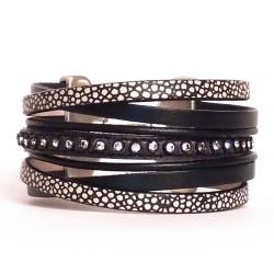 bracelet manchette strass et croco