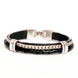 bracelet en cuir véritable et chaine métal argenté