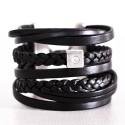 bracelet manchette cuirs et strass