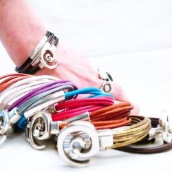 bracelet en cuir manchette 7 tubes