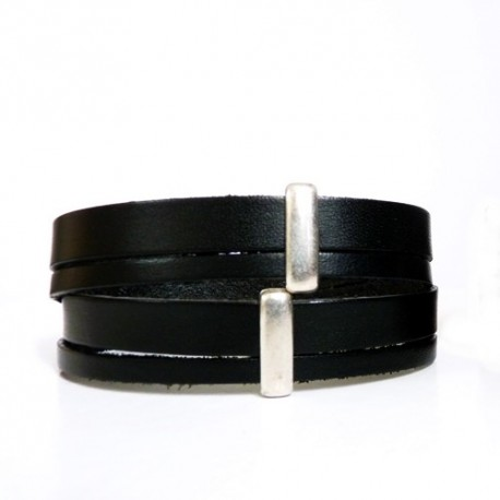 bracelet cuir plusieur tours 2 tours bracelt cuir homme metal argent. Black Bedroom Furniture Sets. Home Design Ideas