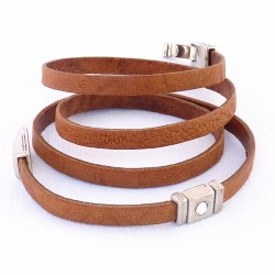 bracelet en cuir 4 tours Strass