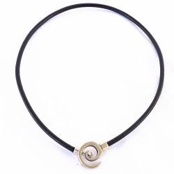Collier ras de coup en cuir et spirale argent