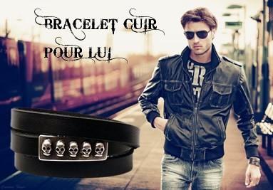 Bracelet cuir homme, créateur de bracelet en cuir homme rock punk tos stlyle de bracelet en cuir, fa