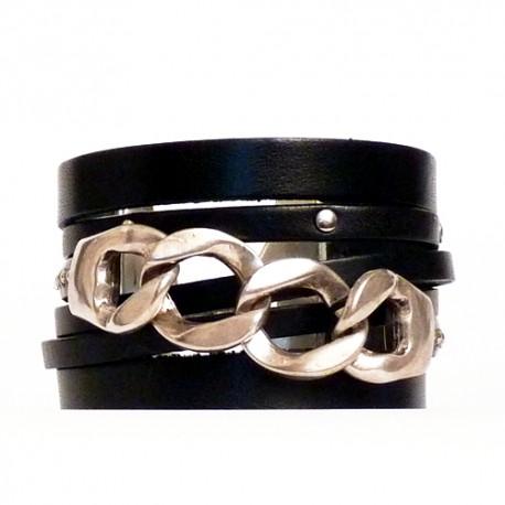 bracelet manchette cuir et chaine