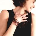 bracelet manchette cuirs et argent