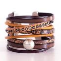 bracelet manchette cuir strass et argent