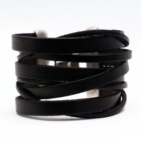 bracelet manchette cuir et argent