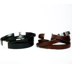 bracelet en cuir véritable et plaqué argent pour homme
