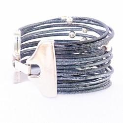bracelet en cuir manchette billes