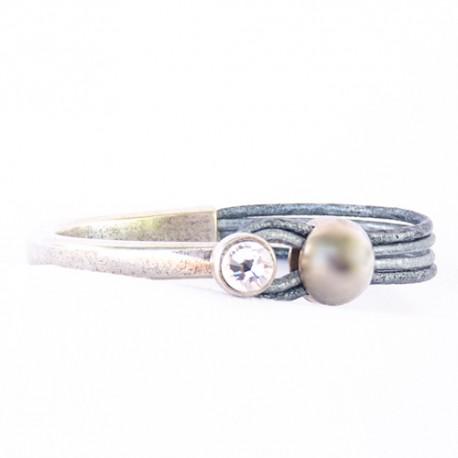 bracelet cuir veritable et strass argent